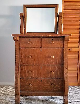 Antique tiger eye oak chest of drawers