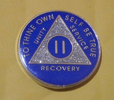Blue & Silver Plated 2 Year AA Chip Alcoholics Anonymous Medallion Coin
