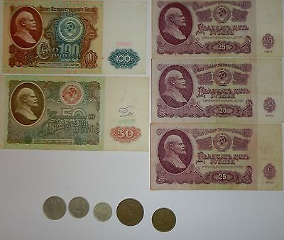 RUSSIAN USSR BANKNOTES 25,50,100 rubles and coin money 20, 15,10, 5,3 kopeck