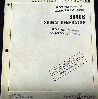Hp 8640B Signal Generator Operating Information Manual--> Look Here First!
