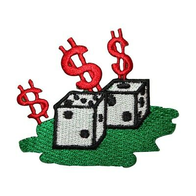 ID 8571a Casino Dice $ Patch Gambling Dollar Sign Embroidered Iron On Applique