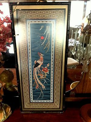 Vintage Silk Embroidered Oriental Bamboo style Framed Picture Bird flowers