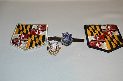 Obsolete Maryland Police Lot  Embroidered Shoulder Patches & Tie Tack Bar