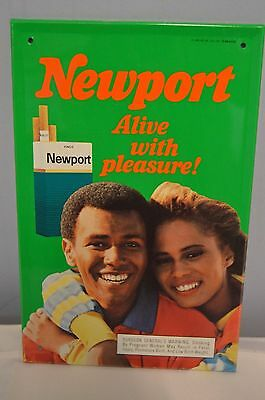 NOS 1987 NEWPORT Cigarettes Alive with Pleasure  Tin Advertising Sign