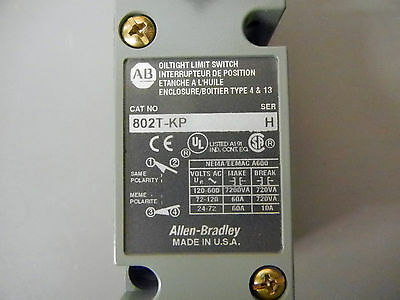 Allen Bradley 802T-Kp 802Tkp Oiltight Limit Switch Plug In Push Type Ser H, Bnib