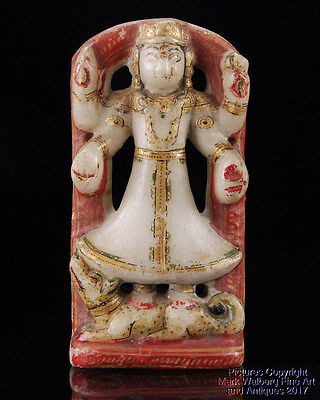 India Indian Alabaster Stone Carving of a Multi-Armed Deity, Late 19th Century