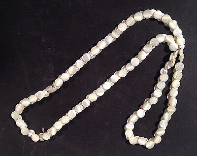 """Mother Of Pearl Tiny Vintage Buttons Long Strand 24"""" Long"""