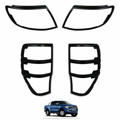 Ford Ranger T6 Raptor 2012-2015  MATTE BLACK Front & Rear Light Cover Trims