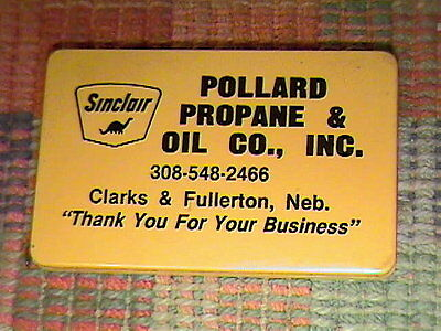 Vintage Square Yellow Advertising Sinclair Pollard Propane And Oil Co. Mini Tape