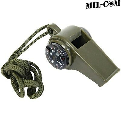 Mil-Com 3 In 1 Whistle Army Camping Hiking Emergency Compass Thermometer
