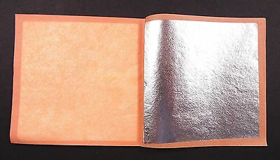 """Silver leaf, 3 3/4"""" by 3 3/4"""" sheets, 4 books of 25"""