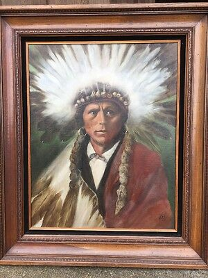 CHARLES VETETO 39x33 Oil Painting of APACHE INDIAN CHIEF GARFIELD by E Curtis