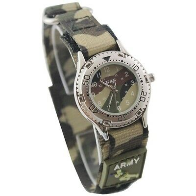 Kas Kids Army Camouflage Watch Touch Fastener Strap Boys Girls Ier Military