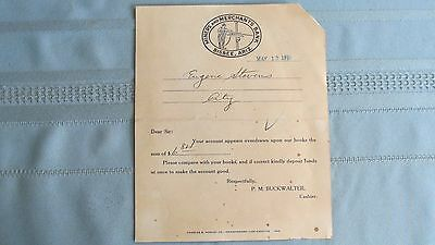 1926 Bisbee Arizona Miners & Merchants Bank Overdraft Account Notice-Rock Drill