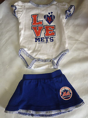 MLB, Cute 2pc NY Met's Bodysuit & Skirt Set/Outfit, Girl's, Size 3-6M