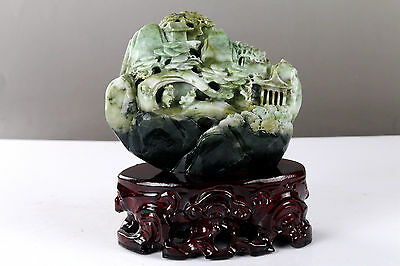 Exquisite 100% Natural DUSHAN Jade Hand Carved Moutain & Man Statue bj118
