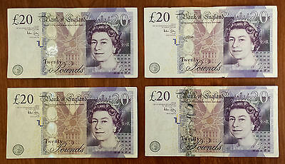 ***Four UK Britain British England Circulated 20 Pounds Banknotes Paper Money***