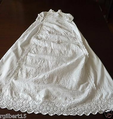 """Vintage Christening Gown Baby White pin tucking Embroidered Eyelets Cotton 42"""""""