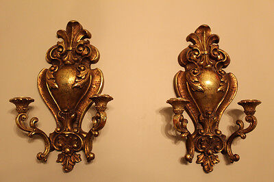 LARGE Vintage Hollywood Regency Gold Syroco Wall Sconce Pair # 4157