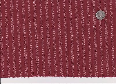 Antique Vintage CRANBERRY 1900'S Fabric Material Quilt Flowers in Lines