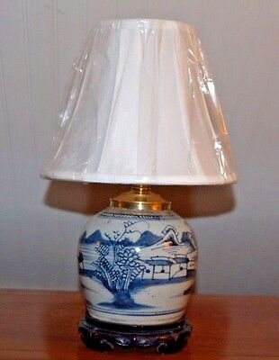 Chinese Blue & White CANTON GINGER JAR LAMP QING 19th C. Nautical