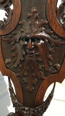 Carved American OAK Green Man/North Wind Chair Hall/Side Chair, Refinished