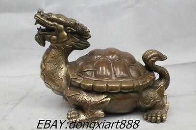 "7"" Chinese Excellent Old Antique Pure Bronze Dragon Turtle Tortoise Sculpture"