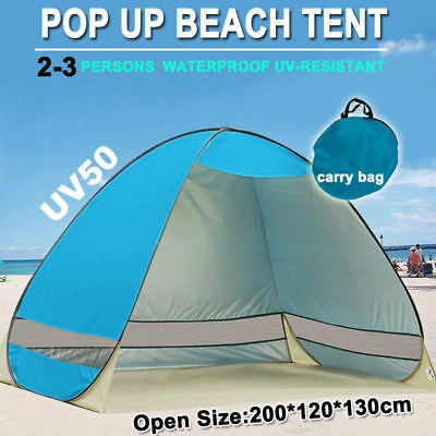 Pop Up Beach Canopy UV Camping Fishing Tent Mesh Sun Shade Shelter  4 Persons