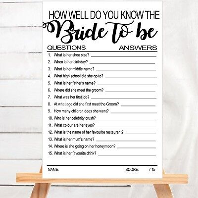 bridal shower hens night game how well do you know the bride to be card