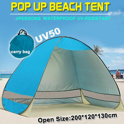 Portable Pop Up Beach Tent Canopy UV Camping Fishing Mesh Sun Shade Shelter Blue