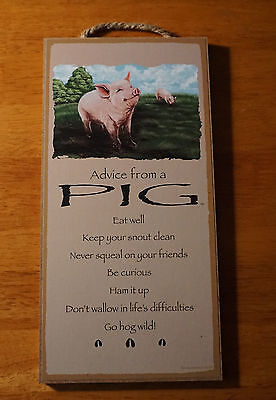 ADVICE FROM A PIG - GO HOG WILD - HAM IT UP - Country Farm Home Decor Sign NEW