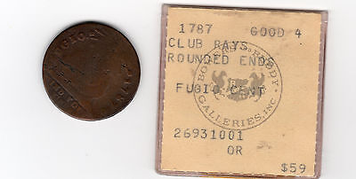 1787 Fugio Cent; colonial copper coin; club rays - rounded ends