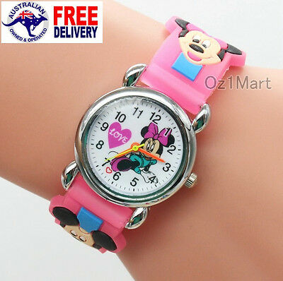 MINNIE MICKEY MOUSE Silicone Girls Watch Children Kids Students Cartoon Watches