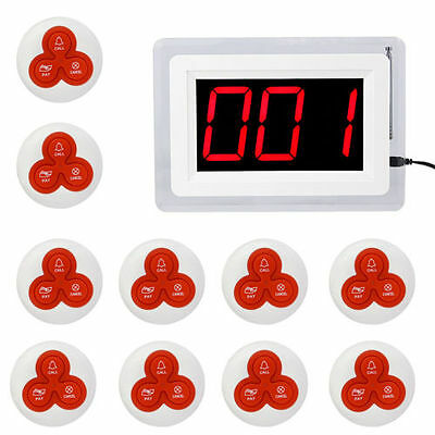 Wireless Calling System Guest Call Paging System Host Display+10 Table Bells AU!