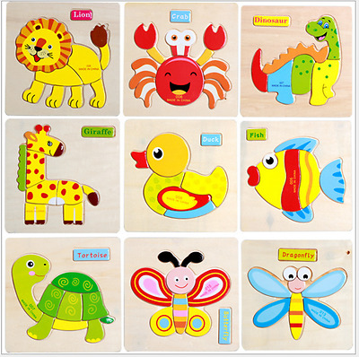 Wooden Animal Puzzle Jigsaw Early Learning Baby Kids Preschool Educational Toys