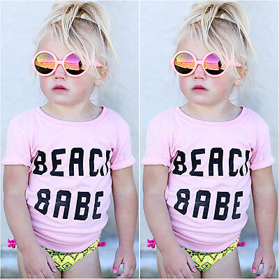Newborn Toddler Kids Baby Girls Short Sleeve T-shirt Top Tee Outfits Clothes
