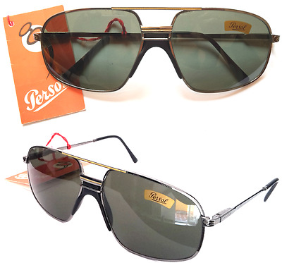 Persol Ratti Top Pilot Sunglasses VINTAGE 80s Italy Crystal Green Aviator NEW