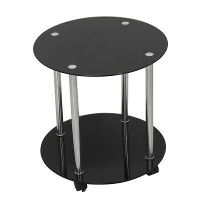 AVF Two Tier Wheeled and Occasional Table in Black Glass and Chrome