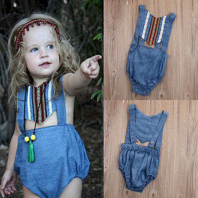 29f1ccbce90b GIRL KID BABY Denim Jeans Romper Bodysuit Toddler Clothes Cowgirl ...