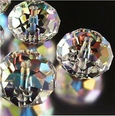 New 100Pcs Clear Ab Faceted Rondelle Crystal Glass Beads 4-12Mm