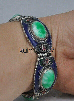 Old Chinese Tibetan silver & copper inlaid jade bracelet LQQ326