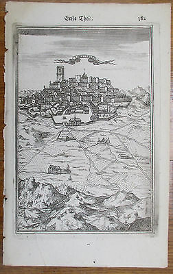 Mallet Fortification Original Engraved View Albuquerque Extremadura Spain - 1687