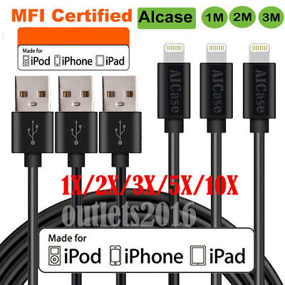 For Apple iPhone X 7 8 Plus 6S 5 Lightning Charger Cable Charging Data Sync Cord