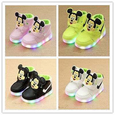 Mickey Mouse Kids Boys Girls  LED Light Flashing Velcro Trainers Casual Sneakers