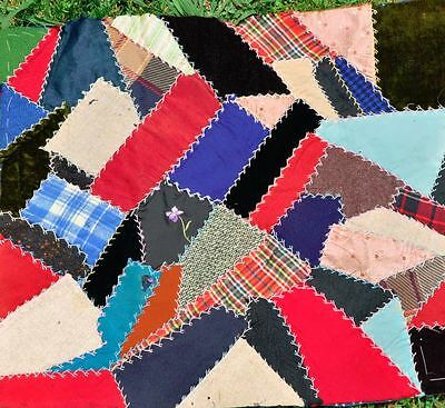 19thc LOVELY EMBROIDERED CRAZY VINTAGE ANTIQUE QUILT BLOCK – DOLL/CUSHION - #6