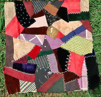19thc LOVELY EMBROIDERED CRAZY VINTAGE ANTIQUE QUILT BLOCK – DOLL/CUSHION - #5