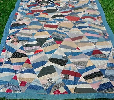1880-1910 – Charming String Pieced Diamonds Vintage Antique Quilt Top