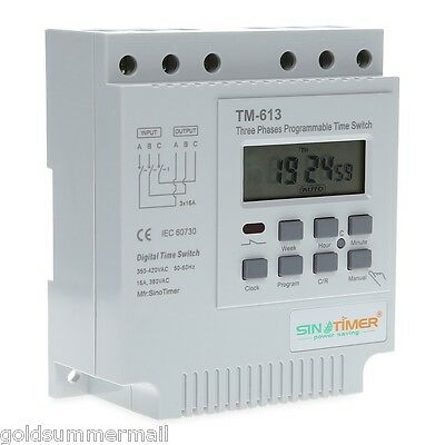 SINOTIMER 380V Programmable Control Power Timer 3 Phases Time Switch White