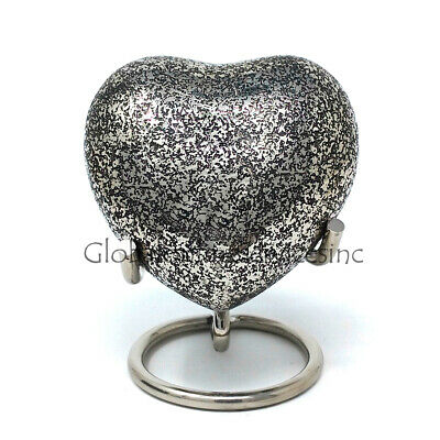 Brass Funeral Urn Ashes, Glenwood Small Heart Keepsake Cremation Urn with Stand