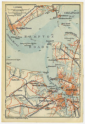 Antique Map-HAMPTON ROADS-NORFOLK-VIRGINIA-USA-Karl Baedeker-Wagner & Debes-1909